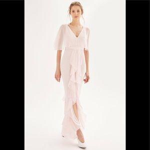 TOPSHOP blush angel wings ruffles chiffon dress 8